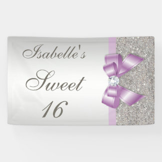 Silver Sequins Lilac Faux Bow Sweet 16 Banner