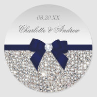 Silver Sequins Navy Bow and Diamond Wedding Classic Round Sticker