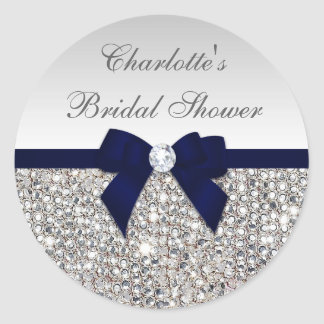 Silver Sequins Navy Bow Diamond Bridal Shower Classic Round Sticker
