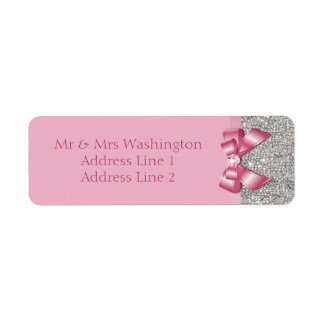 Silver Sequins Pink Bow and Diamond Label