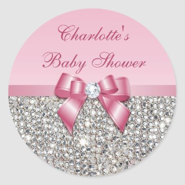 Toddler & Baby themed Silver Sequins Pink Bow Diamond Baby Shower Classic Round Sticker