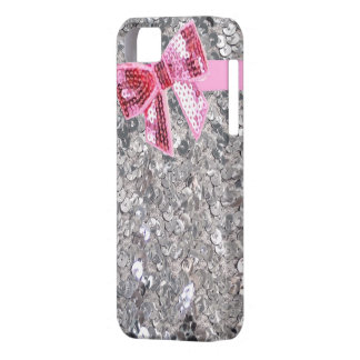 silver sequins/pink bow iphone5 case iPhone 5 cases