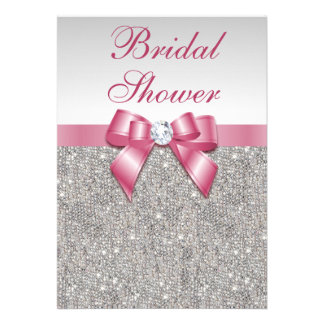Silver Sequins Pink Bows Diamonds Bridal Shower Invitation