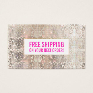 Silver Sequins Pink Cosmetology Discount Coupon Business Card