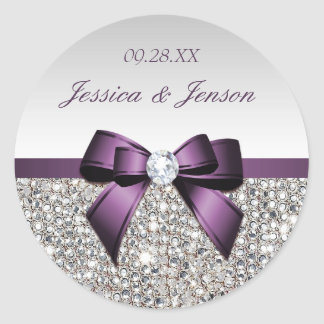 Silver Sequins Purple Bow and Diamond Wedding Classic Round Sticker