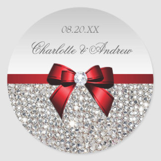 Silver Sequins Red Bow and Diamond Wedding Classic Round Sticker