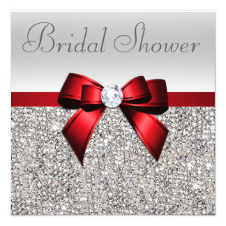 Silver Sequins Red Bow Diamond Bridal Shower Card