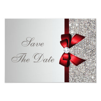 Silver Sequins, Red Bow & Diamond Save the Date Card