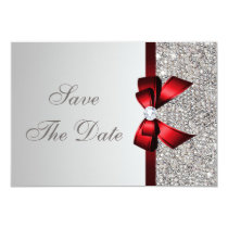 Silver Sequins, Red Bow & Diamond Save the Date Invitation