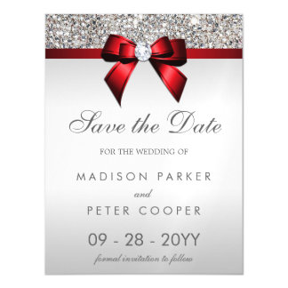 Silver Sequins Red Bow Save The Date Wedding Magnetic Card