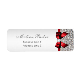 Silver Sequins Red Bow Wedding Personalized Label