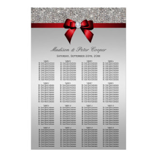 Silver Sequins Red Bow Wedding Seating Chart Poster