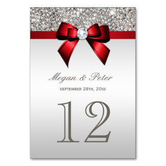Silver Sequins Red Bow Wedding Table Number Cards