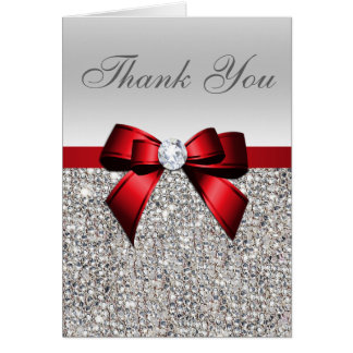 Silver Sequins Red Diamond Bow Thank You Card
