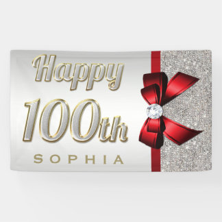 Silver Sequins Red Faux Bow 100th Birthday Banner