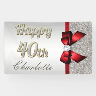 Silver Sequins Red Faux Bow 40th Birthday Banner