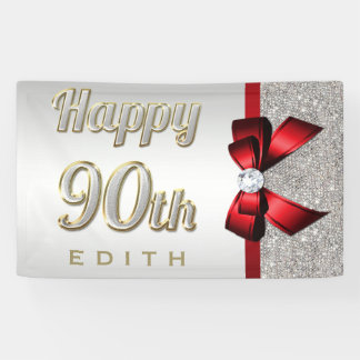 Silver Sequins Red Faux Bow 90th Birthday Banner