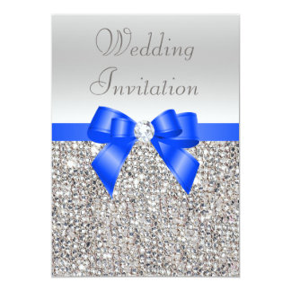 Silver Sequins Royal Blue Bow and Diamond Wedding Card