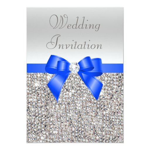 Silver Sequins Royal Blue Bow and Diamond Wedding Cards