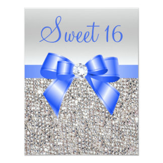 Silver Sequins Royal Blue Bow Sweet 16 Card
