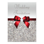 Silver Sequins Royal Red Bow and Diamond Wedding 5x7 Paper Invitation Card