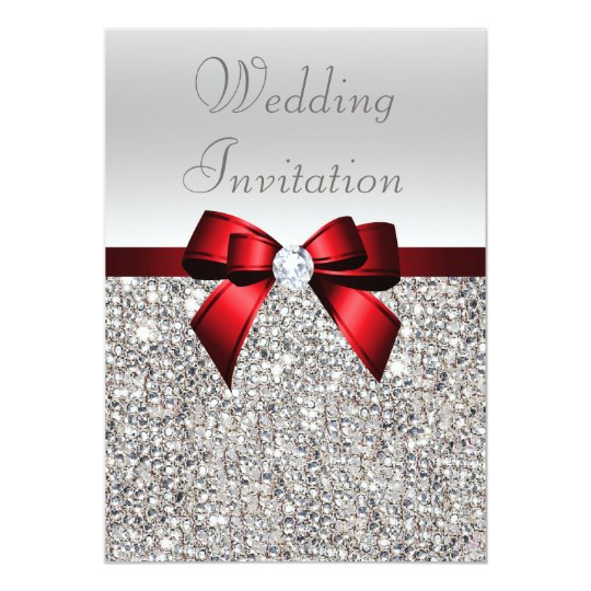 Gradient Silver Invitation Template With Red And Black Ribbon