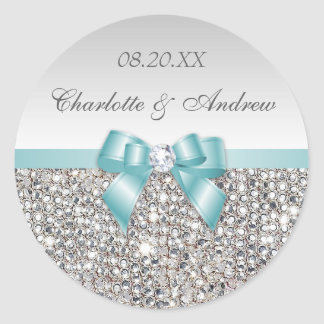 Silver Sequins Teal Bow and Diamond Wedding Classic Round Sticker