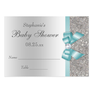 Silver Sequins Teal Bow Baby Shower Seating Cards