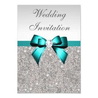 Silver Sequins Vibrant Teal Diamond Bow Wedding Card