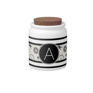Silver Sewing Pattern with Monogram Candy Jar