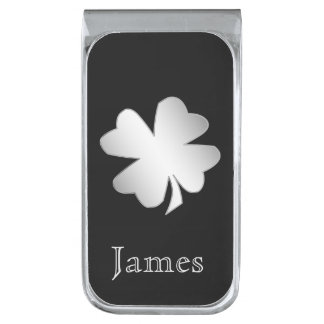 Silver Shamrock on Black Personalized Silver Finish Money Clip