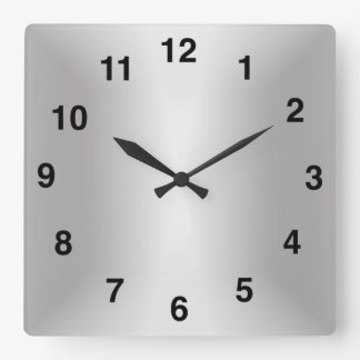 Silver Sheen Gradient Square Wall Clock