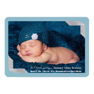 Silver Shimmer Corners Photo Birth Announcement