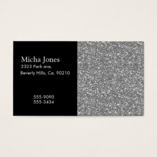 Silver Shimmer Glitter Business Card