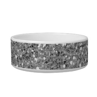 Silver Shimmer Glitter Cat Water Bowls