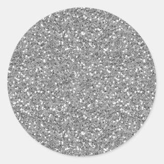 Silver Shimmer Glitter Round Stickers