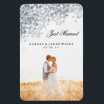 "Silver Shimmer Light Shower Marriage Announcement Magnet<br><div class=""desc"">Make an announcement they&#39;ll remember with this silver shimmer light shower marriage announcement photo magnet. Matching wedding stationery is available in the Young Wanderlust store!</div>"