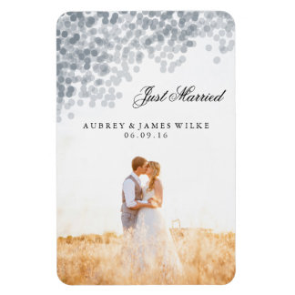 Silver Shimmer Light Shower Marriage Announcement Magnet
