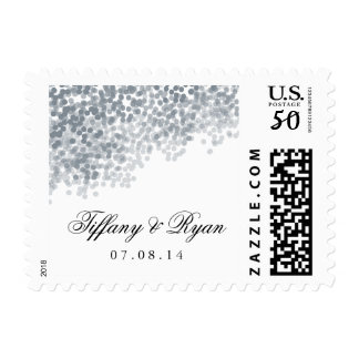 Silver Shimmer Light Shower Wedding Postage Stamp