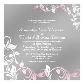 Silver Shimmer Pink Wedding Invitation