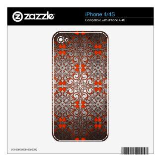 Silver Shimmer Shine Damask Burnt Orange Decal For iPhone 4