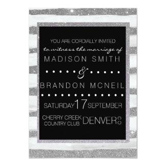 Silver Shimmer Stripe Wedding Invite
