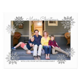 Silver Shimmering Chic Snowflake Holiday Photo Postcard