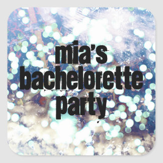 Silver Shimmery Bachelorette Party Square Sticker