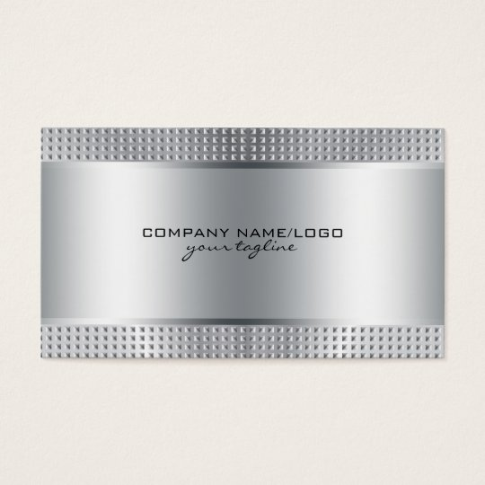 Silver Shiny Metallic Design-Stainless Steel Look Business Card