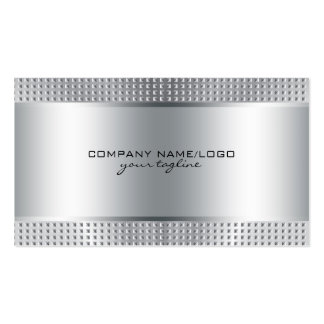 Silver Shiny Metallic Design-Stainless Steel Look Double-Sided Standard Business Cards (Pack Of 100)