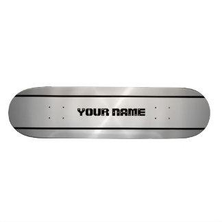 Silver Shiny Stainless Steel Metal Skateboard
