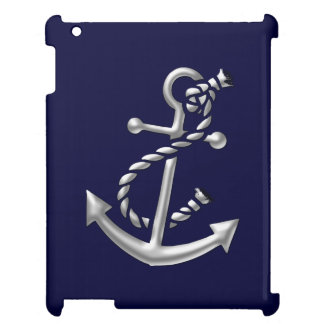 Silver Ship's Anchor Nautical Maritime Theme Cover For The iPad