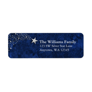 Silver Shooting Stars Blue Return Address Label