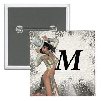Silver showgirl 2 inch square button